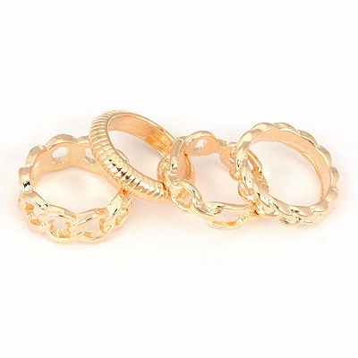 Handmade Gold Color Four Combination Simple Design Alloy Korean Rings
