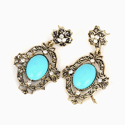 Uniform Blue Hollow Out Oval Shape Design Alloy Stud Earrings