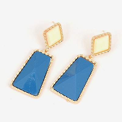 Rave Blue Geometric Shape Pendant Design Alloy Stud Earrings