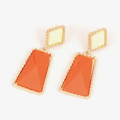 Infant Orange Geometric Shape Pendant Design Alloy Stud Earrings