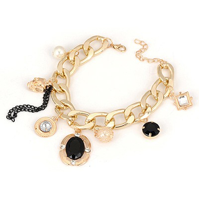 Circle Gold Color Multielement Pendant Decorated Design Alloy Korean Fashion Bracelet