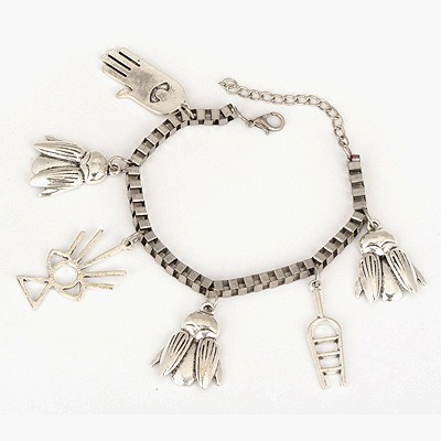 Skinny Antique Silver Insects Palm Decorated Design Alloy Korean Fashion Bracelet