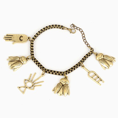 Portable Antique Copper Insects Palm Decorated Design Alloy Korean Fashion Bracelet