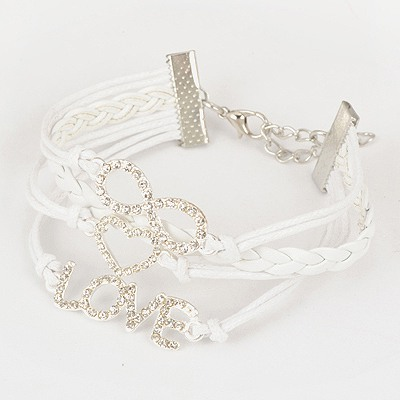 Tungsten White Love & 8 Decorated Design Pu Korean Fashion Bracelet