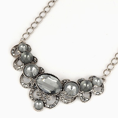Equestrian Gray Gemstone Decorated Design Alloy Bib Necklaces