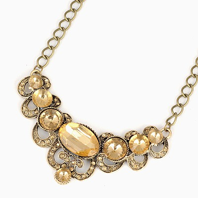 Ladies Champagne Gemstone Decorated Design Alloy Bib Necklaces