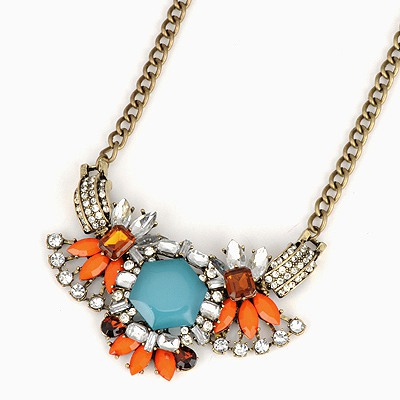 Lace Multicolor Geometric Shape Gemstone Decorated Design Alloy Chains