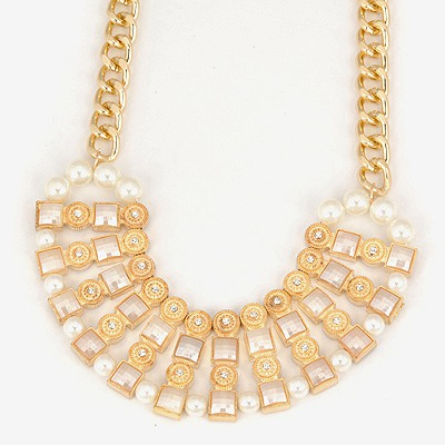 Eatable White Double Color Multilayer Design Alloy Bib Necklaces