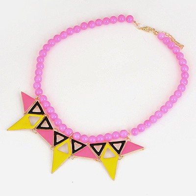Musical Plum Red Triangle Pendant Design Alloy Bib Necklaces