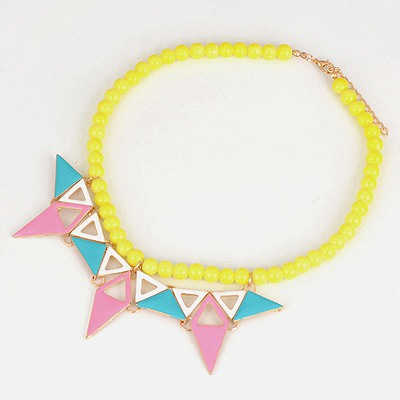 Deathly Yellow Triangle Pendant Design Alloy Bib Necklaces