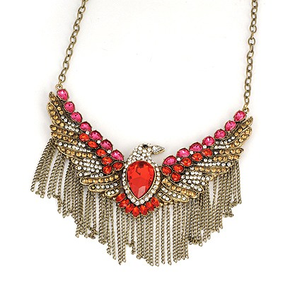 Stylish Red Eagle Tassels Pendant Design Alloy Bib Necklaces