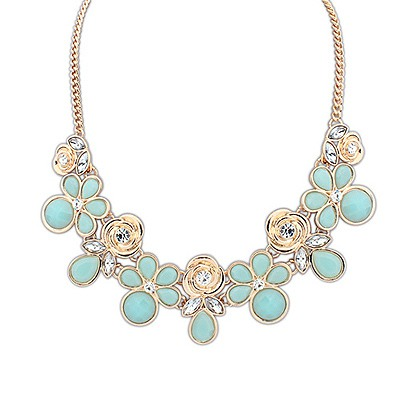 Mexican Blue Geometric Shape Pendant Design Alloy Bib Necklaces
