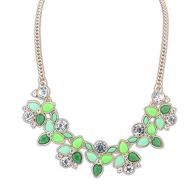 Long Green Geometric Shape Pendant Design Alloy Bib Necklaces