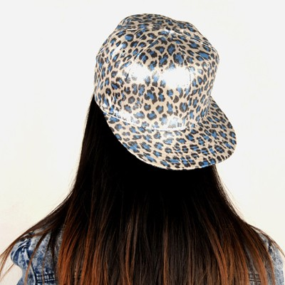 Magnetic Blue Bright Leopard Pattern Design Silk Baseball Caps
