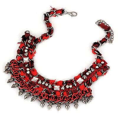 Pentacle Dark Red Multilayer Rivet Weave Design Alloy Bib Necklaces