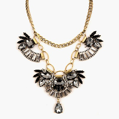 Madewell Black Gemstone Decorated Design Alloy Bib Necklaces