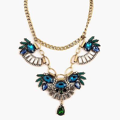 Real Blue Gemstone Decorated Design Alloy Bib Necklaces