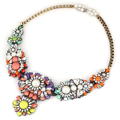 Folding Multicolor Mix Flower Pearl Decorated