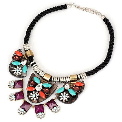 Couture Purple Irregular Shape Pendant Design Braided Rope Bib Necklaces