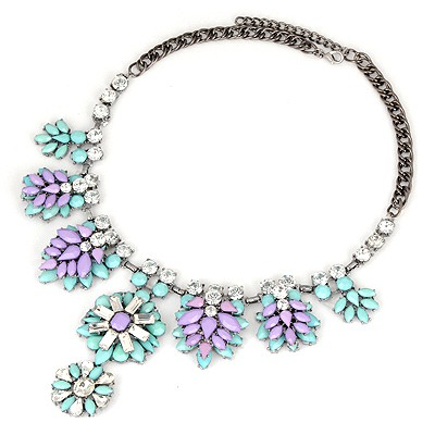 Collar Blue Tree Leaf Diamond Decorated Alloy Bib Necklaces