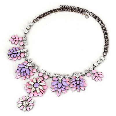 Turquoise Pink Tree Leaf Diamond Decorated Alloy Bib Necklaces