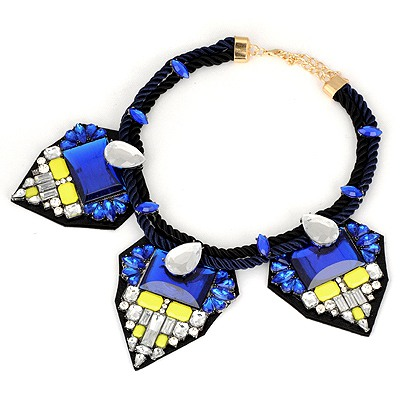 Nice Sky Blue Geometric Shape Pendant Design Braided Rope Bib Necklaces