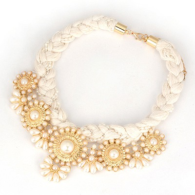 Street White Hollow Out Flower Decorated Braided Rope Chokers