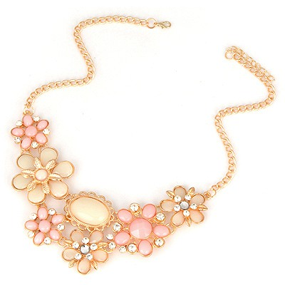 Winter Pink Flower Petal Gemstone Decorated Alloy Bib Necklaces