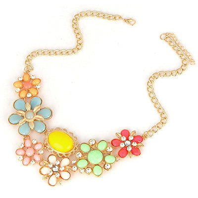 Shopping Multicolor Flower Petal Gemstone Decorated Alloy Bib Necklaces
