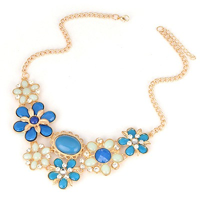 Printed Blue Flower Petal Gemstone Decorated Alloy Bib Necklaces