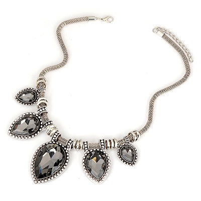 Lightest Black Water Drop Pendant Design Alloy Bib Necklaces