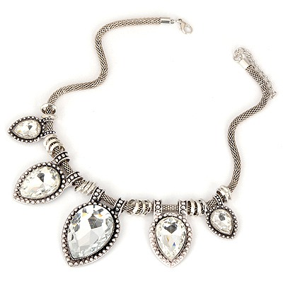 Down White Water Drop Pendant Design Alloy Bib Necklaces