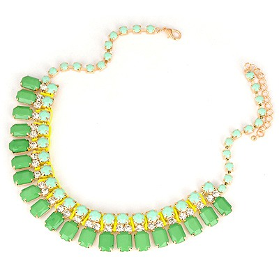Acrylic Green Square Shape Gemstone Decorated Design Alloy Bib Necklaces