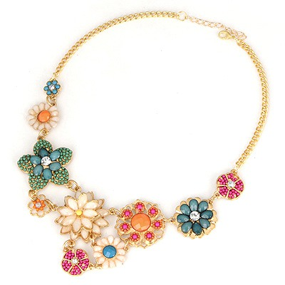 Athletic Multicolor Flower Petal Gemstone Decorated Alloy Bib Necklaces