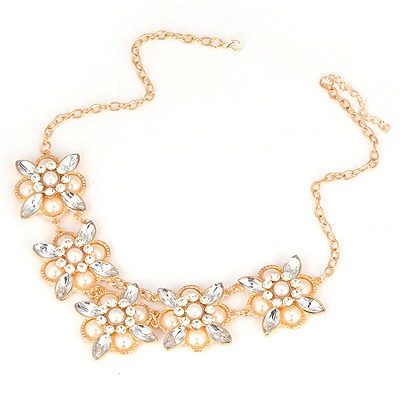 Fit Gold Color Cross Shape Pearl Decorated Design Alloy Bib Necklaces