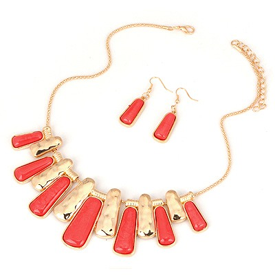 Friendship Red Two Colors Rectangle Pendant Design Alloy Jewelry Sets