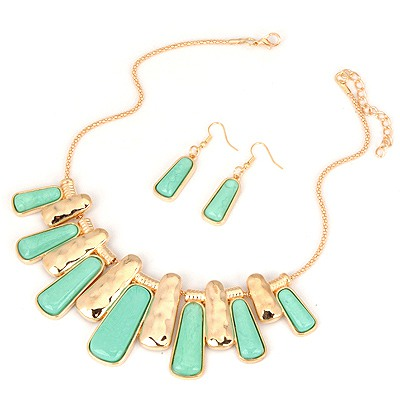 Display Light Green Two Colors Rectangle Pendant Design Alloy Jewelry Sets