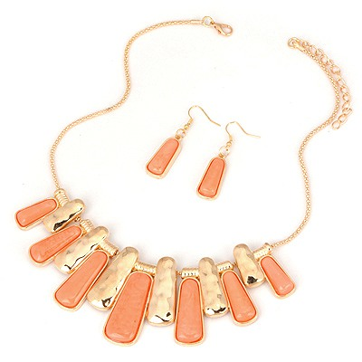 Ultra Orange Two Colors Rectangle Pendant Design Alloy Jewelry Sets