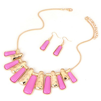 Misses Purplish Red Two Colors Rectangle Pendant Design Alloy Jewelry Sets