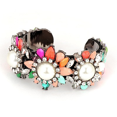 Trendy Multicolor Flower Gemstone Decorated Design Acrylic Fashion Bangles