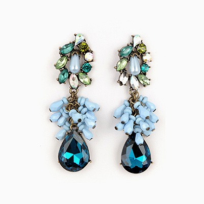 Travel Blue Water Drop Pendant Design Alloy Fashion earrings