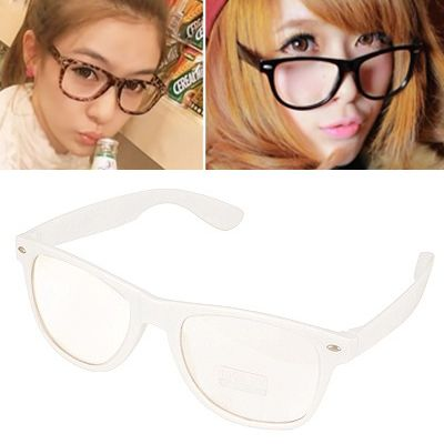 Shade White Pure Color Charm Deisgn(with lens) Plastic Sunglasses
