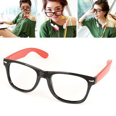 Cute Red Pure Color Charm Deisgn(without lens) Plastic Fashon Glasses