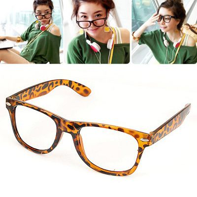 Japanese Leopard Pure Color Charm Deisgn(without lens) Plastic Sunglasses