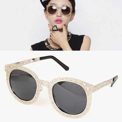 Recycled Silver Color Hollow Metal Frame Design Alloy Sunglasses