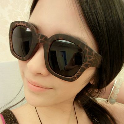 Rhinestone Leopard Candy Color Round Frame Plastic Sunglasses