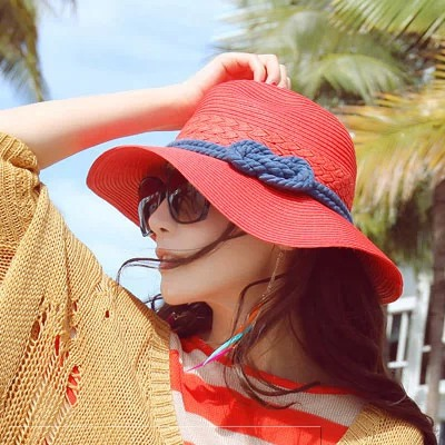 Coast Red Rope Knot Decorated Design Straw Sun Hats