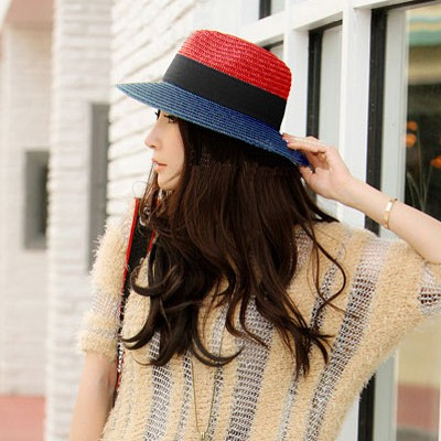 Concealed Red Two Colors Patchwork Design Straw Sun Hats