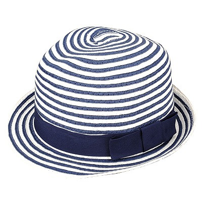 Beautiful Blue Bowknot Decorated Stripe Design Straw Sun Hats
