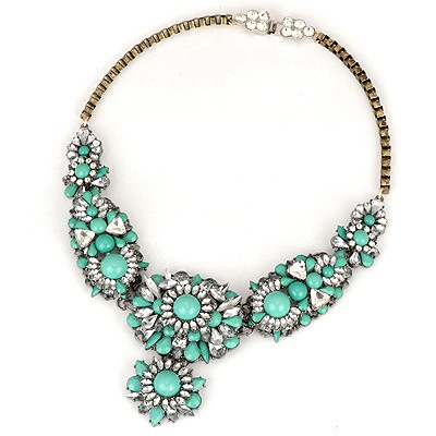Denim Green Flower Gemstone Decorated Design Alloy Bib Necklaces
